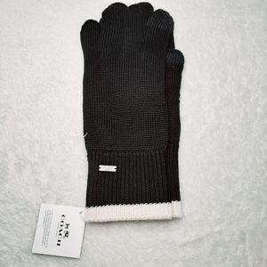 NWT COACH Knit Tech Gloves, Black Cream F76490